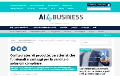 Screenshot Portale AI4Business Declaro Configuratore di prodotto